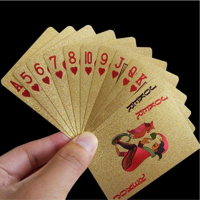 Playing cards poker game foil set plastic qality waterproof red black deck