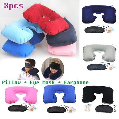 Flight Pillow Neck U Rest Air Cushion+ Eye Mask+Earbuds Essential Multifunction Inflatable Travel