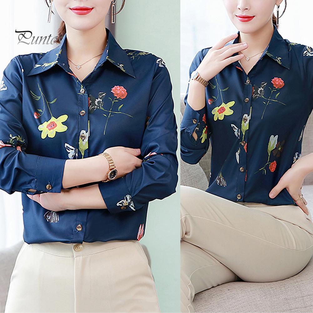 Женщины Длинные рукава Офис случайных цветочные печати lapel кнопки Тонкий Fit Рубашка Блузка – купить по низким ценам в интернет-магазине Joom