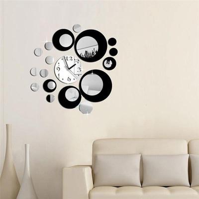 Creative Circle DIY 3D Acrylic Wall Mirror Clock Wall Stickers Hanging Clocks Home Decoration