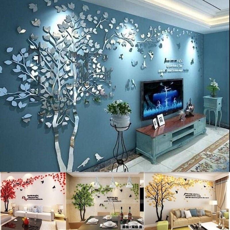 Room Wall Stickers Tree Stereo Tv Sofa, Wall Stickers For Living Room