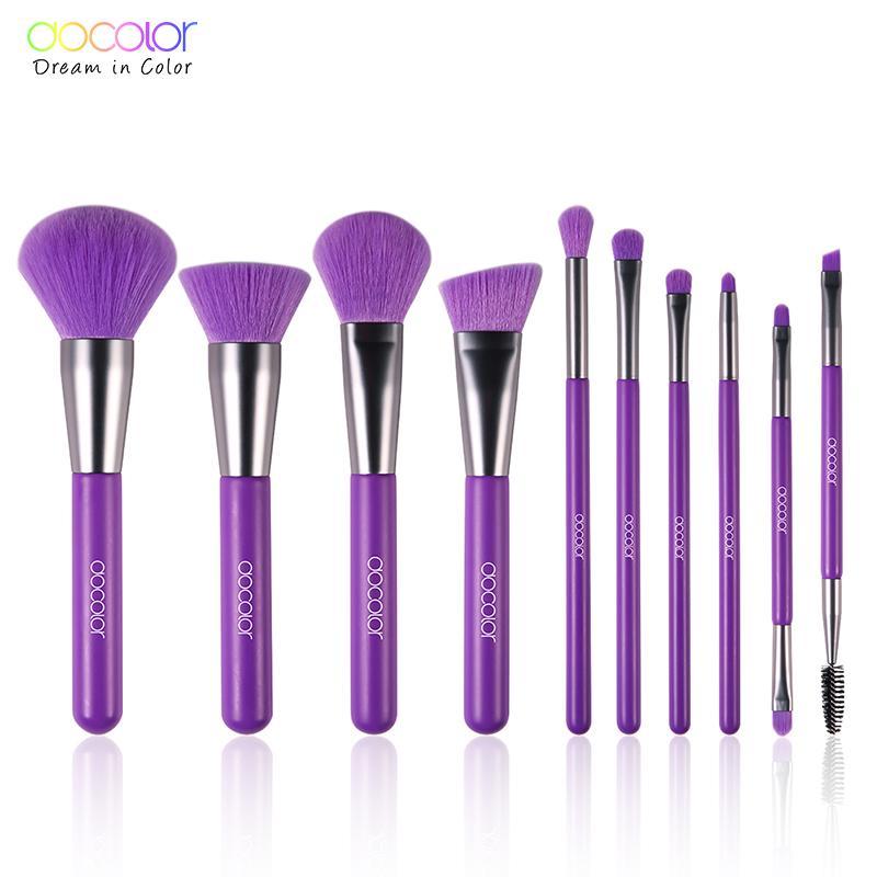 Docolor 10 Pcs Purple Makeup Brushes