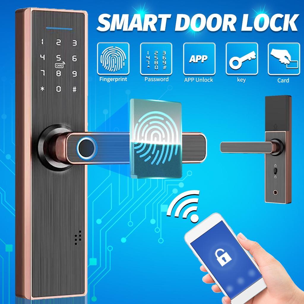 Intelligent Fingerprint Password Door Lock Remote Voice Control Waterproof Anti-Theft Door Lock for Home