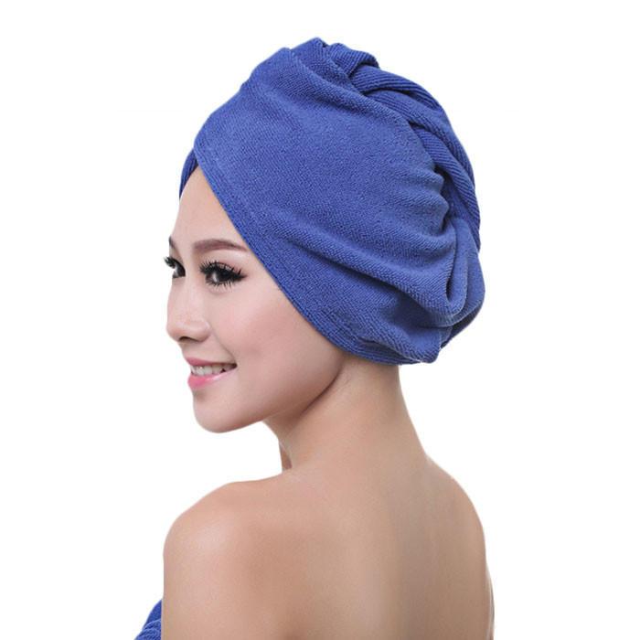 2 pcs Gorro de Ducha para Pelo Largo,Cabello Seco Turbante con Boton,Toalla Microfibra para Mujer Toallas de Ba/ño Azul