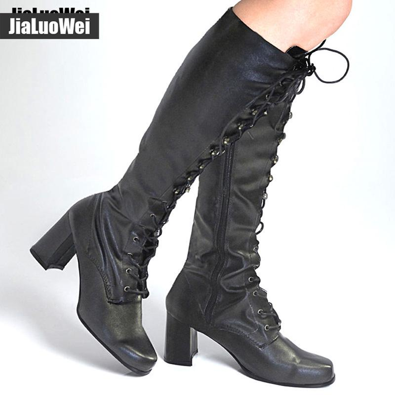 Womens Med Block Heels Lace Up Knee High Riding Boots Round Toe Leather Shoes Sz