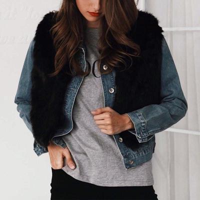 Дами жінок Faux шуби кошлатий жилет верхній одяг жилет зимове пальто без  рукавів 878a5a5c3a0f5