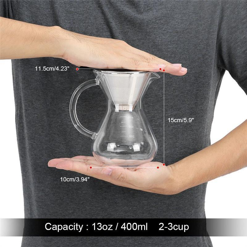 with V-type Faucet and Thickening Handle Coffee Pot Heat Insulation 400ml Glass Hand Drip Coffee Maker Filter Pot with Scale for Office or Home