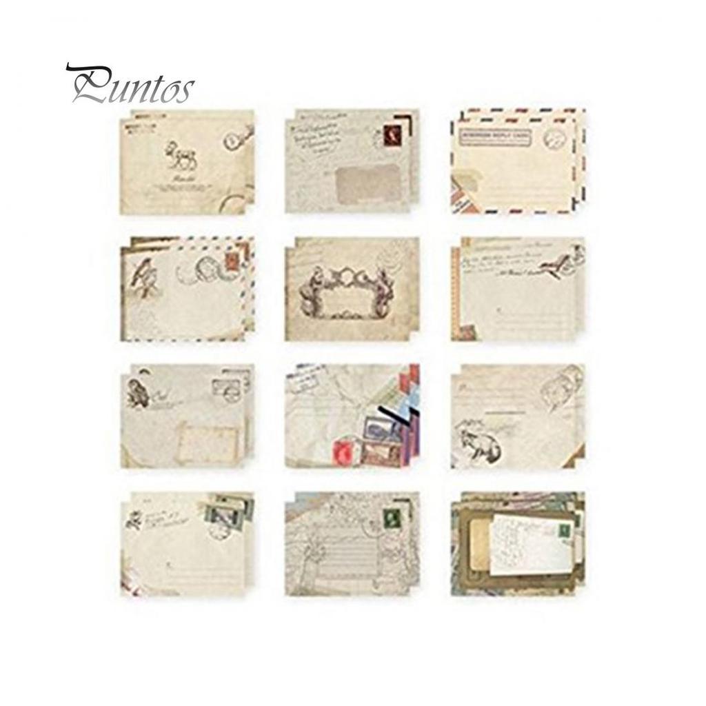 12pcs Vintage Paper Envelopes Mini European Style Wedding Invitation Card Bag