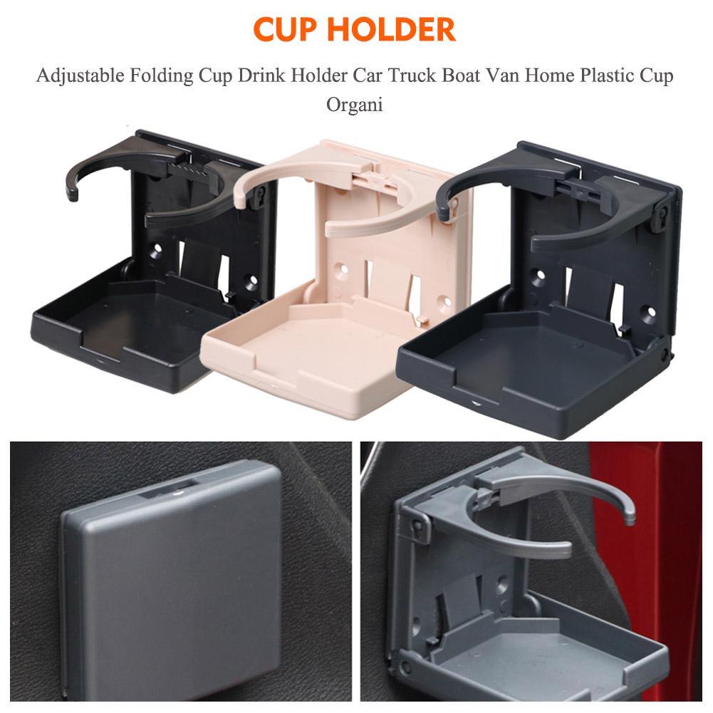 2X Black Universal Adjustable Folding Cup Drink Holder Car Truck Boat Camper RV