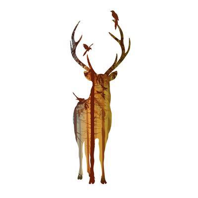 дом творчества Rondaful декоративная живопись маслом скандинавском стиле стены украшения стены стикер оленей Silho