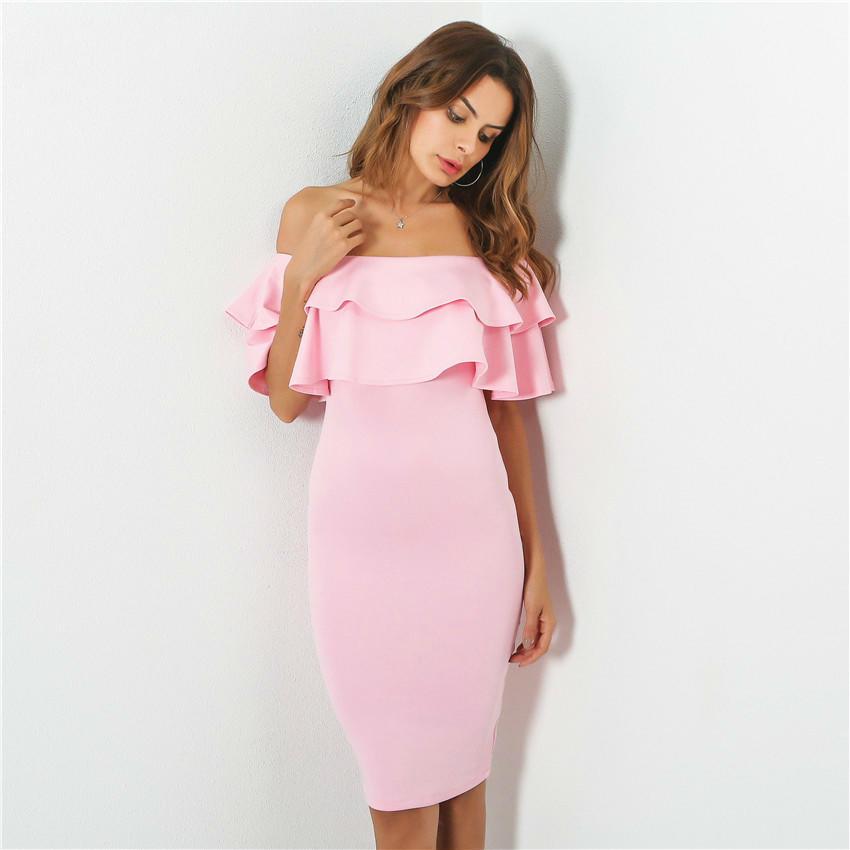 Volantes vestido vestido de verano tala cuello rosa negro vestidos ...