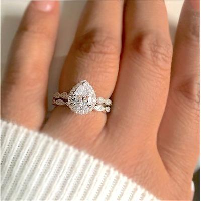 Inel 3 în 1 Femei Vintage Alb Diamant Logodna Argint Verigheta Set