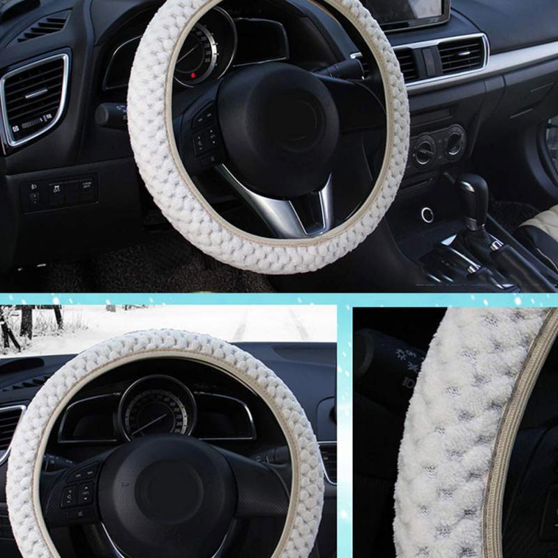 Diameter 38cm Beige Soft Leopard Steering Wheel Handbrake Shift Cover Adapter