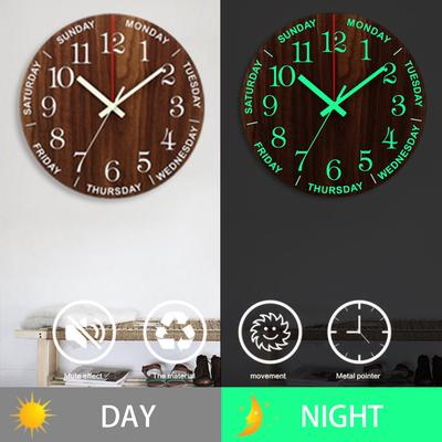 Dark Brown Luminous Wall Clock 12 Inch Silent Non-Ticking Kitchen Wall Clocks With Night Lights For Indoor/Outdoor Living Room Bedroom Decor