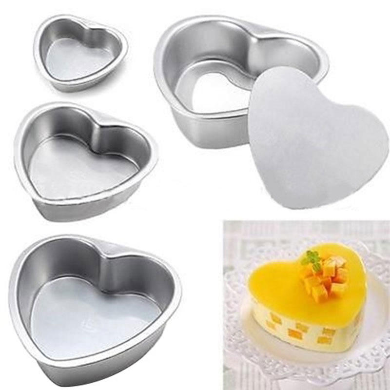 3Pcs Stainless Steel Pan Cake Tray Oven Mould Love Heart Shape DIY Bakeware Tool