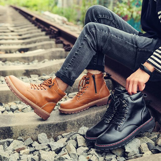 Британский стиль Мужчины Обувь лодыжки сапоги Мужская обувь Швейная нить сапоги для мужчин случайных хлопка обувь – купить по низким ценам в интернет-магазине Joom