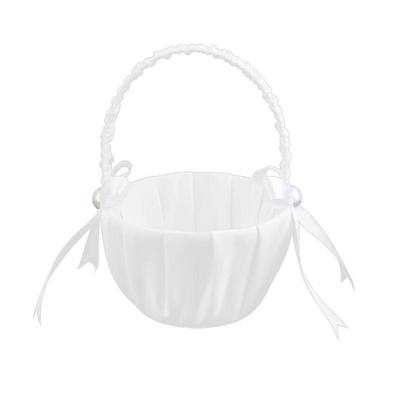 Pearl Satin Double Heart Flower Girl Basket Engagement Wedding Ceremony Party