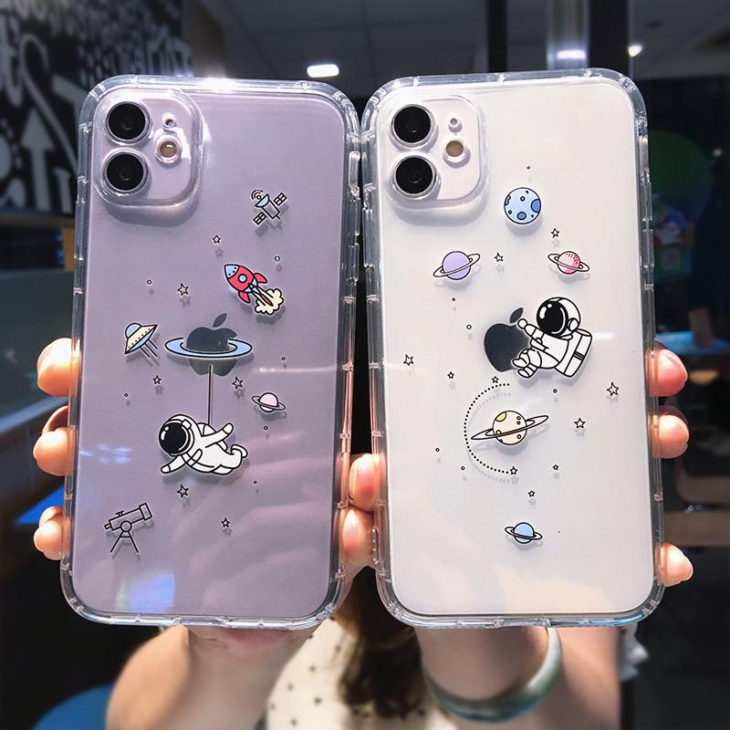 Phone Case For iPhone 12 Pro 12 Mini 11 12 Pro Ma X XR XS Max 7 8 Plus Fashion Cartoon Funny Creative Astronaut Planet Clear Shockproof Soft TPU Case