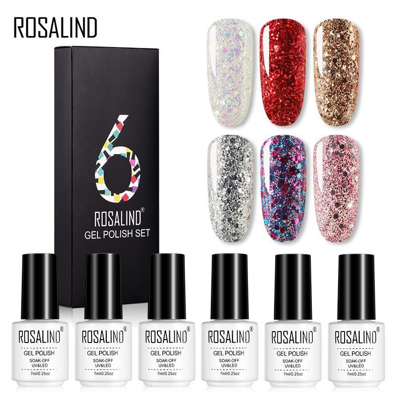 ROSALIND 6PCS 7ML Nail Gel Польский набор гель ногтей Искусство Дизайн маникюр ногтей гели набор фото