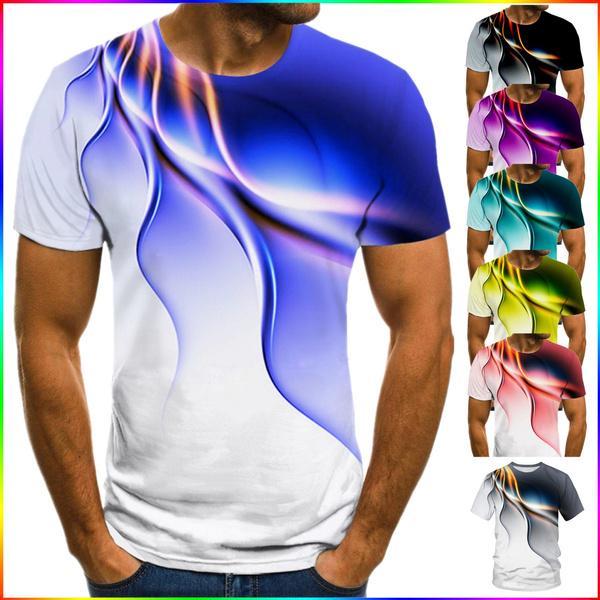 Men/'s Summer Casual Sport 3D Graphic T-Shirt Tops Round Neck Short Sleeve Blouse