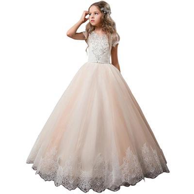 f3014cf7a42 Долго кружева цветок девочки платья конкурс детей бальное платье партии.