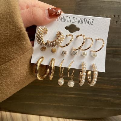 Fashion Gold Hoop Earrings Set Women Pearl Hoop Earrings Oversize Metal Circle Punk Earring 2021 Female Fashion Jewelry