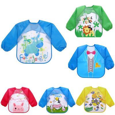 Baby Bibs Burp Cloths Long Sleeve Waterproof Coverall Animals Toddler Feeding
