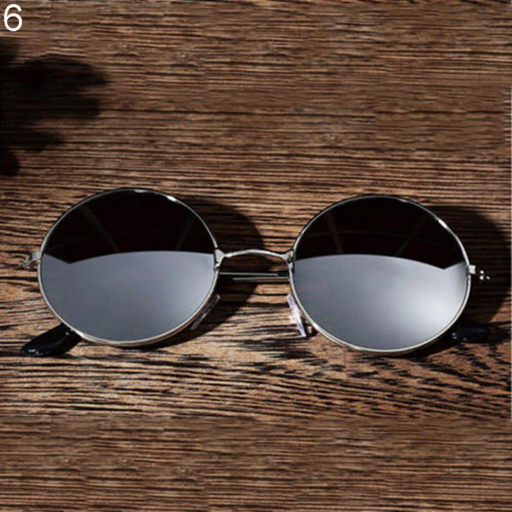 Vintage Retro Men Women Round Metal Frame Sunglasses Black Lens Glasses Eyewear
