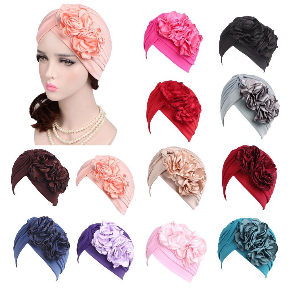 Las mujeres señoras sombrero Retro con dos flores grandes turbante ... 13b7a228697