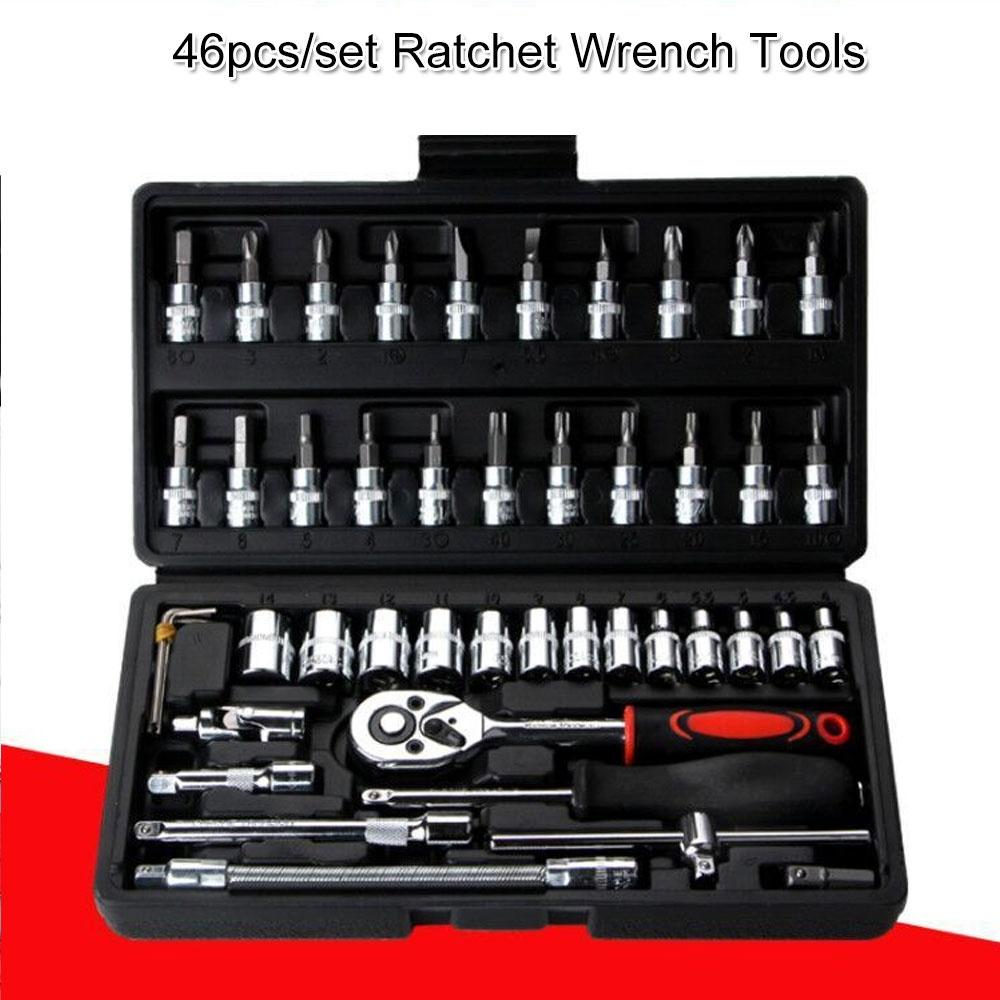 trucks motorcycles and bicycle maintenance Tool 46pcs 1//4-Inch Socket Set Mechanics Tools Kit Key Hand Tool Set Spanner Wrench Wrenches Garage Tools Ratchet Torque Wrench Combo Tools Kit for cars
