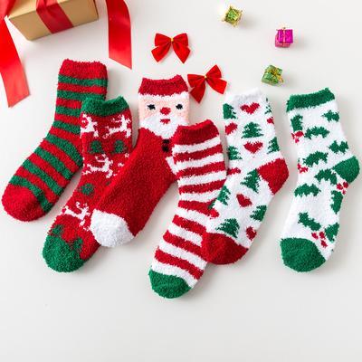 Women Cute Santa Coral Fleece Xmas Thicken Warm Fluffy Winter Floor Socks Gift