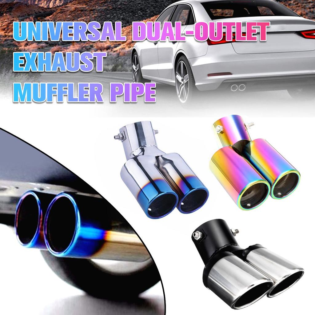 Silver 304 S.Steel Auto Car Truck Bent Curve Exhaust Tail Muffler Tip Pipe