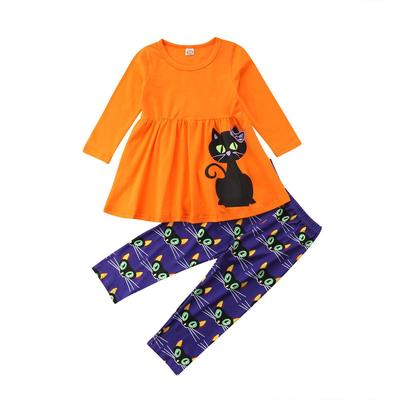 091437d7e Niños bebé niñas algodón ropa trajes camisetas Tops + largo pantalones  juegos dibujos animados gato impresión