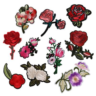 5Pcs/Lot Iron-On Transfer Rose Flower T-Shirt Diy Decoration Parches  Washable Embroidery Patches