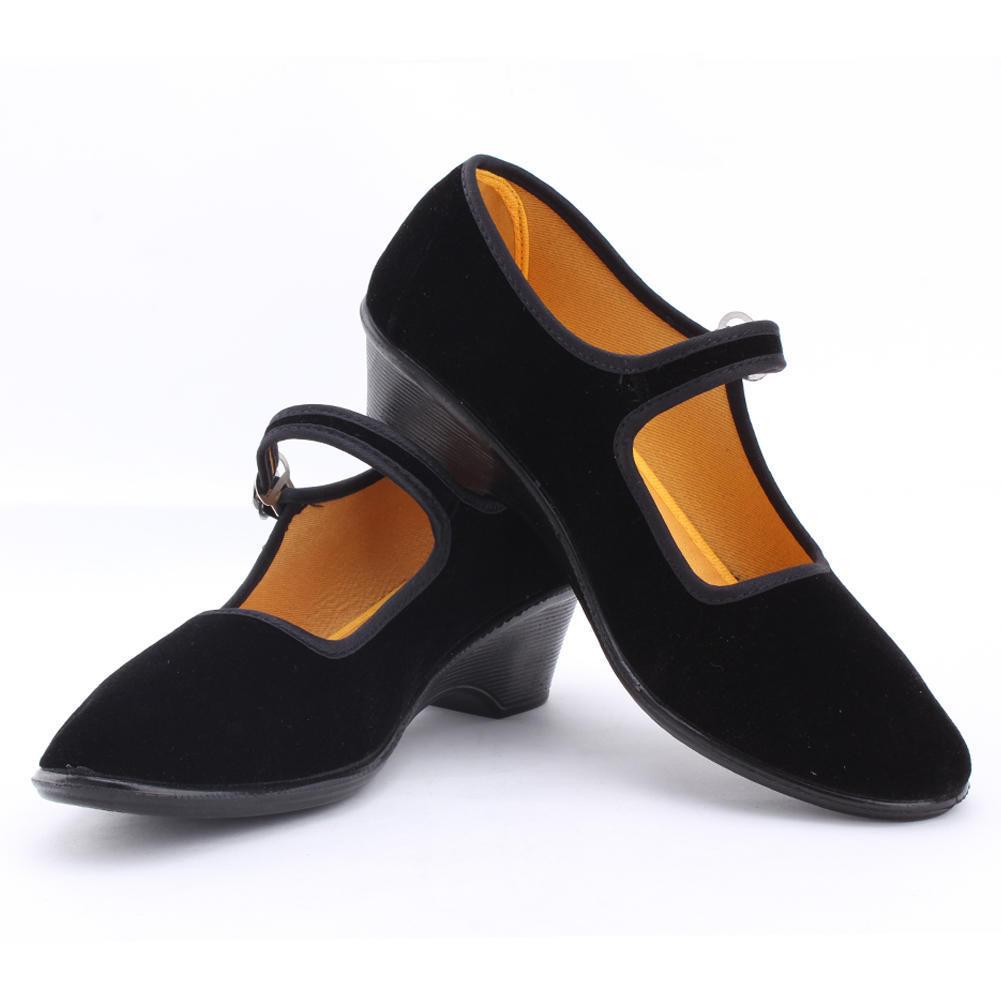 Старый Пекин обувь Мэри Джейн высокой пятки клинья джинсовой китайский стиль случайный ткани Обувь больших размеров фото