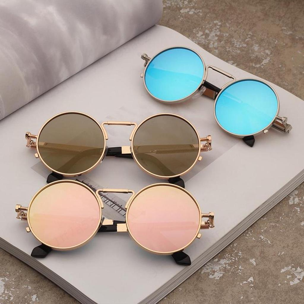 Gothic Steampunk Sunglasses Men Metal Round Shades Male Clear Sun Glasses For