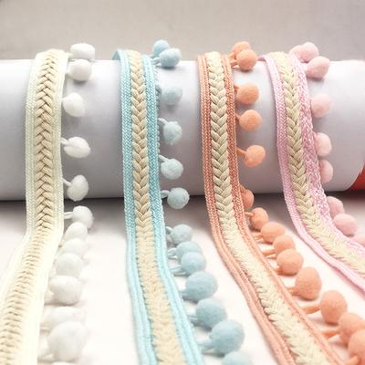 Black Ethnic Style Pompom Beads Fringe Trim Ribbon Sewing DIY Sewing Fabric Craft Handmade Decorative Jewelry 1 Yard