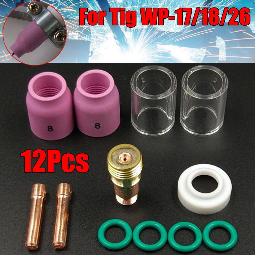 9pcs Kit For WP-17//18//26 TIG Welding Torch Stubby Gas Lens #12 Heat Glass Cup