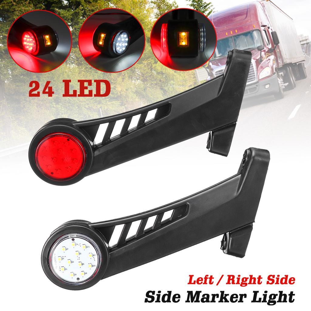 5 Red White Corner Side Marker LED Lights Outline Lamp Truck Trailer Van Bus 12V