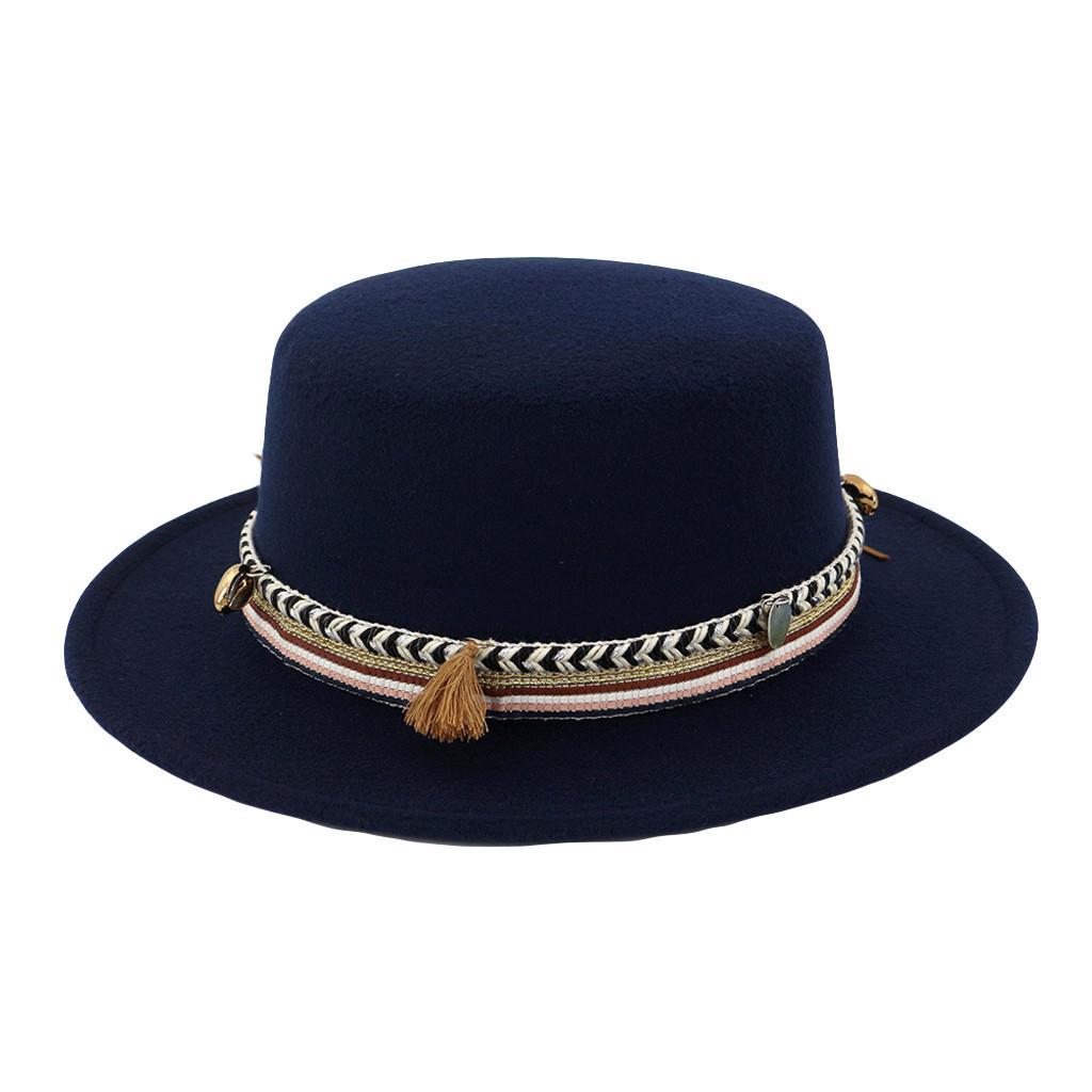 f0a5871d34cf2 Mulheres toda a borda lã correia feltro Flat Top Fedora chapéu festa Igreja  Trilby chapéus Cap