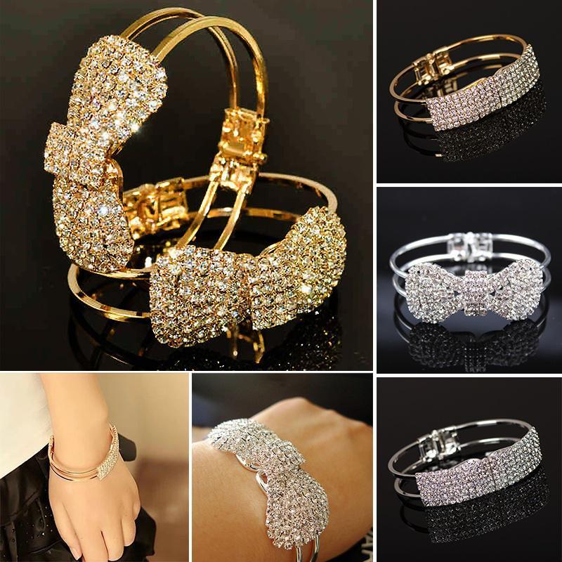 Mode glitzernde Armreif Zeug zu elegante Damen Armreif Armband Armband Strass Manschette Armreif