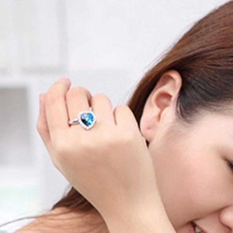 Señoras Titanic Corazón Del Océano Azul Cristal Magnífico Anillo Joyería para Mujer