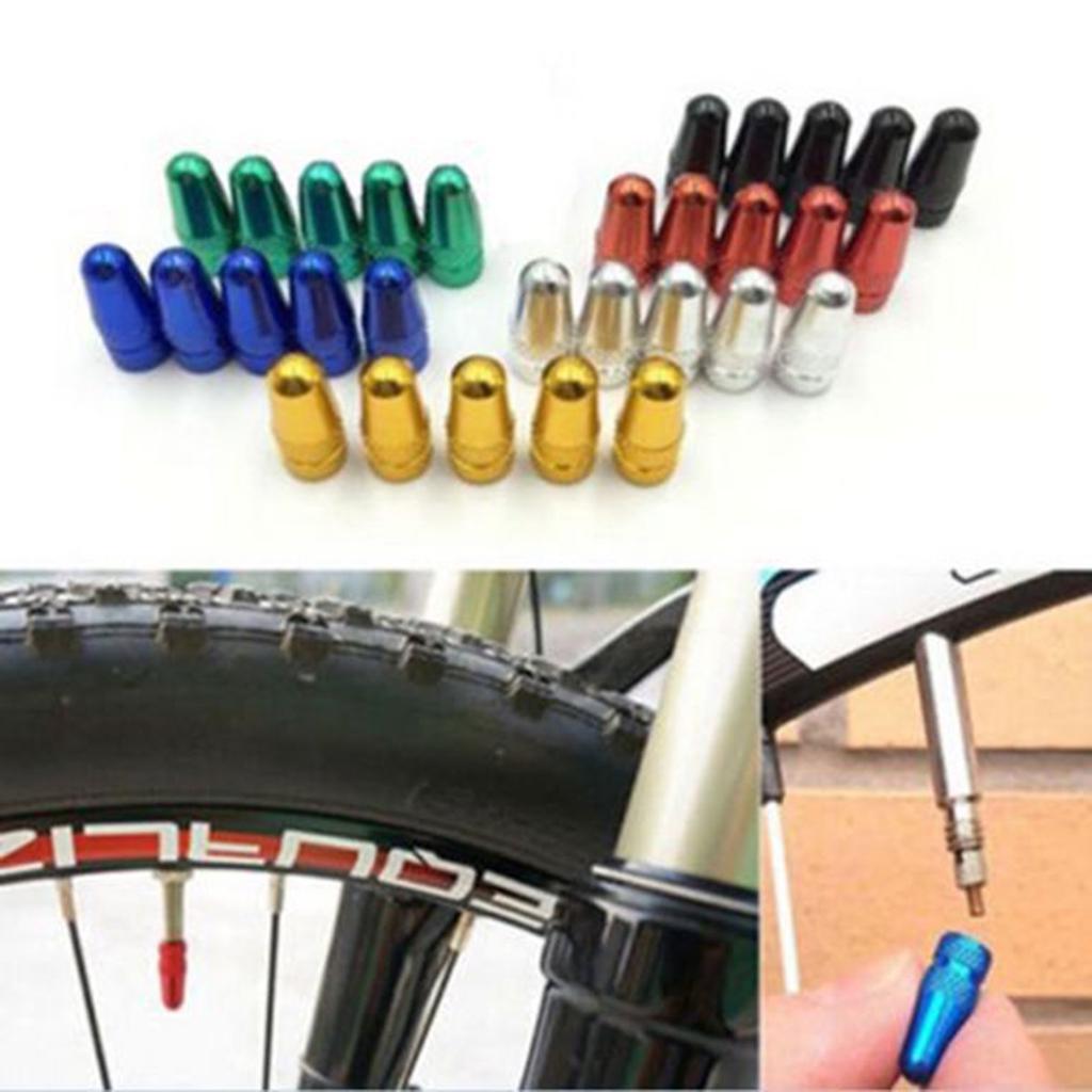 10pcs Bike Aluminum Alloy Presta Valve Cap Light Dust Cover Bicycle MTB Road
