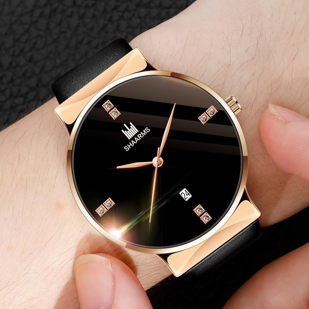 Часы женщин случайные кожа кварц Смотреть случайные моды нейтральные часы – купить по низким ценам в интернет-магазине Joom