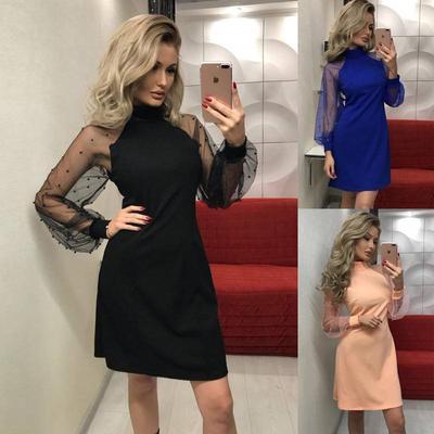 e416faecf1b Женщин элегантными сетки жемчужина длинным рукавом платье партии Office