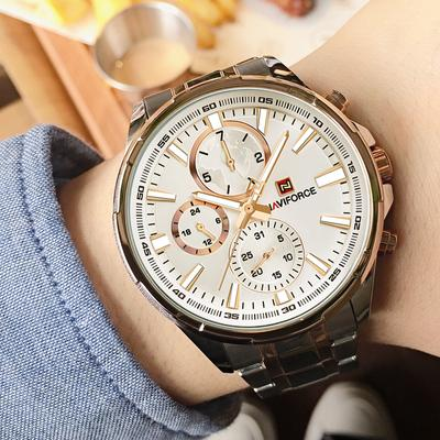 Classic Casual Business Male Watches Stainless Steel Waterproof Wristwatch Quartz Date Display Clock Relogio Masculino
