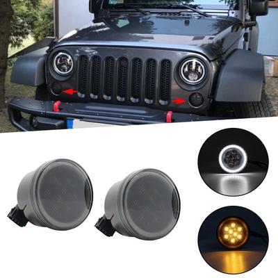 Pair LED Turn Signal Parking Side Marker Light Fender For Jeep Wrangler JK 07-17