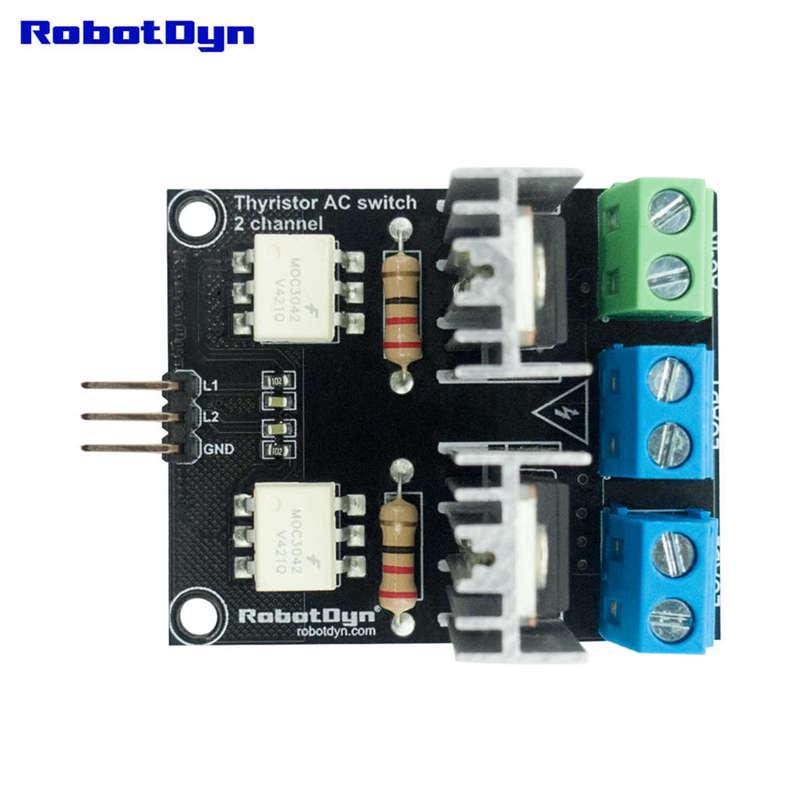 Robotdyn Ac Light Dimmer Module, 2 Channel, 3 3V/5V Logic, Ac 50/60Hz,  220V/110V Competable