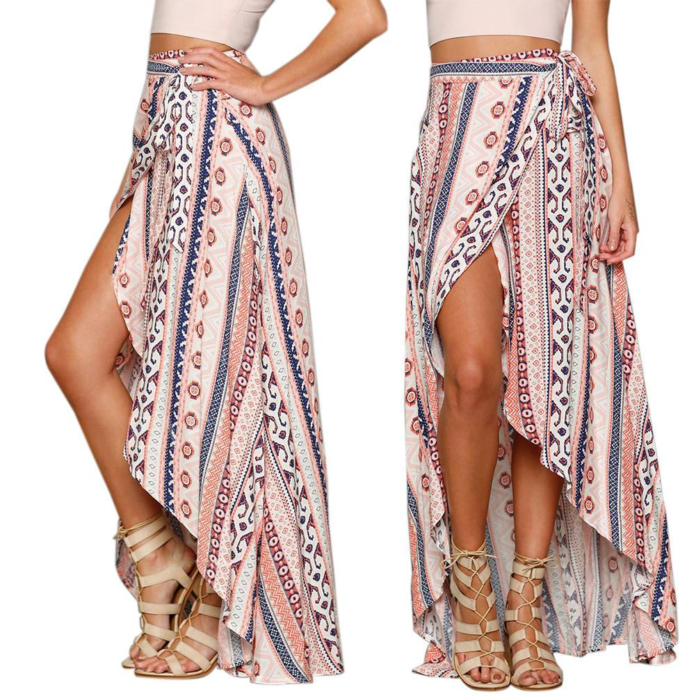 新款雪纺绑腰半身长裙 沙滩度假沙滩罩裙印花沙滩衣