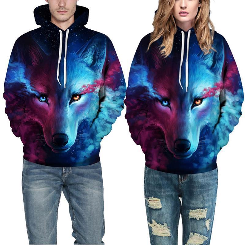Unisex Galaxy Wolf Lion Tiger 3D Print Casual Hoodie Sweatshirt Jacket Coat Tops